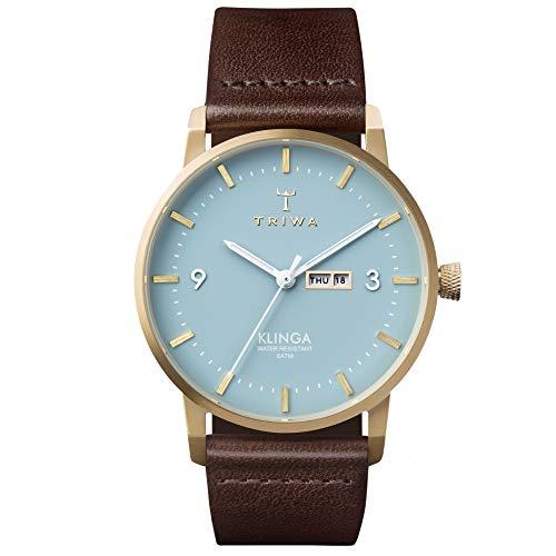 Triwa Unisex Erwachsene Datum klassisch Quarz Uhr mit Leder Armband KLST106-CL010413