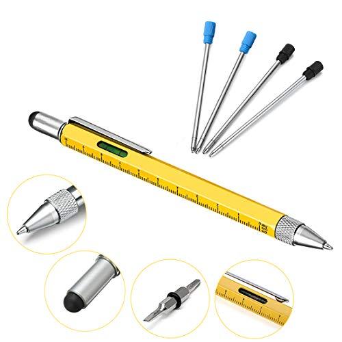 Bolígrafo Herramienta pluma multifunción, Jestool 6 en 1 Tech Multitool Pen con Regla, Bolígrafo, nivel, Stylus y 2 Destornillador, 4 Recargas, Regalos para Hombre o Mujer