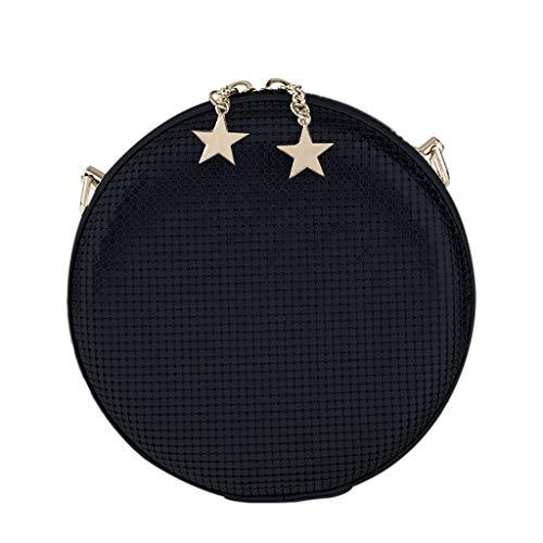 Why Choose Round Crossbady Bag for Women,Leaf2you Evening Handbag Sequins Aluminum Bag with Detachable Chain (Black)