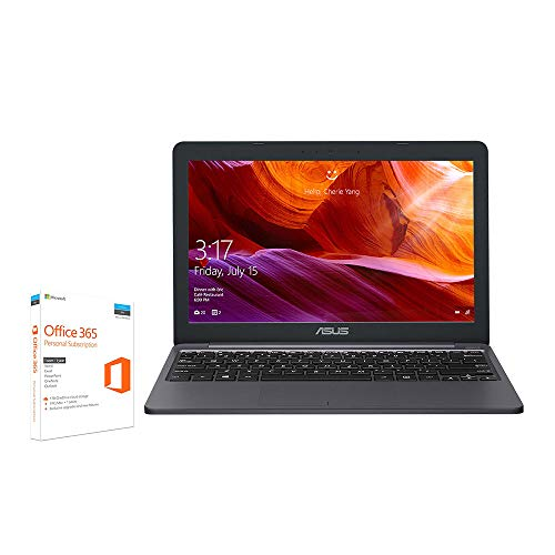 ASUS 2019 Cloudbook E203MA-FD017TS 11,6-Zoll-HD-Laptop (Intel Celeron N4000 Prozessor, 64 GB eMMC, 4 GB Speicher vorinstalliert mit Microsoft Office 365, Windows-10S)