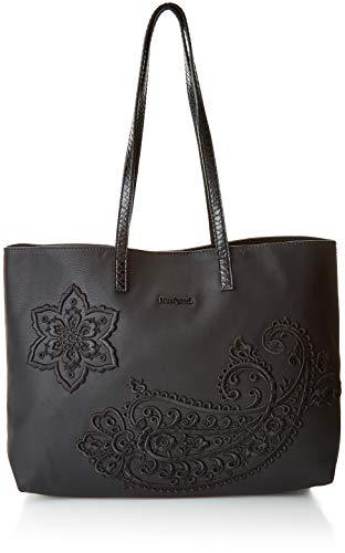 Desigual - Bols_cachemire Seattle No Reversible, Shoppers y bolsos de hombro Mujer, Negro, 13x29.5x36 cm (B x H T)