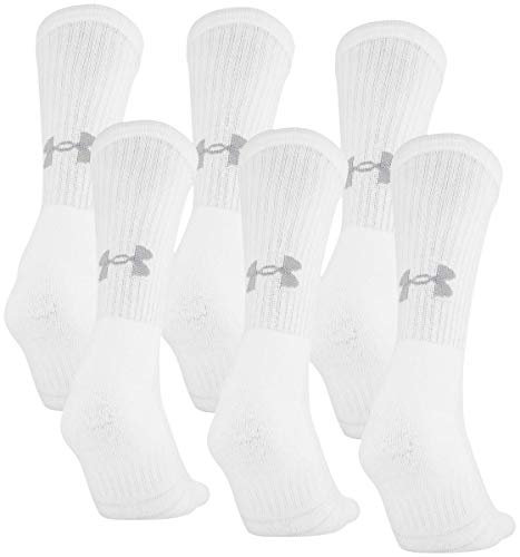 Under Armour Adult Cotton Crew Socks, 6-Pairs , White 2 , Large