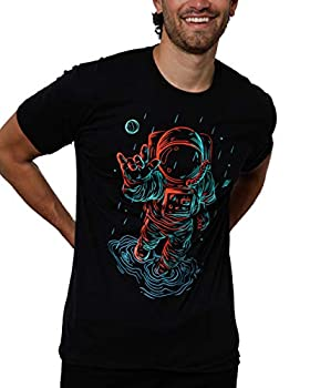 INTO THE AM Universal Love Glow in The Dark Men s Graphic Tees Cool Short Sleeve Novelty Graphic T-Shirts for Guys  Black Medium