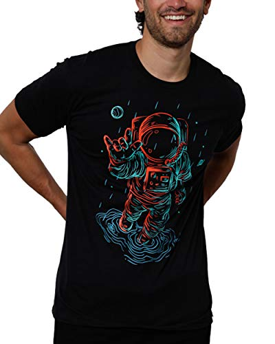 INTO THE AM Universal Love Glow in The Dark Men's Graphic Tees Cool Short Sleeve Novelty Graphic T-Shirts for Guys (Black, XX-Large)