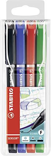 Rotulador puntafina STABILO SENSOR – Punta fina 0.3 con sistema de amortiguación – Estuche con 4 colores