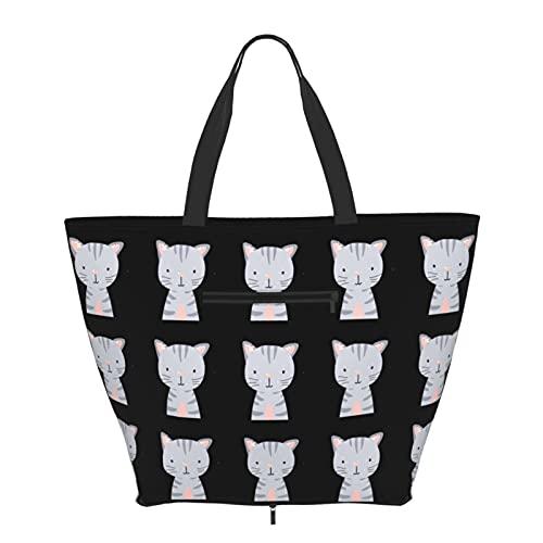 Women Handbags Large Tote bag Cat Cute Animal Face Big Capacity Handbags Trendy Gym Sports Beach Shoulder Tote Bag