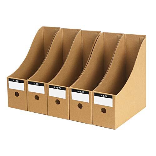 Porte-revues en Kraft Papier Range-revues DIY Boîte de Rangement Organisateur Fichier Document Etagère de Stockage Bureau Pour A4 Dossier CD Magazine Livre Corbeille à Courrier 3/5 Pcs