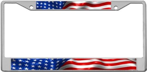 Redeye Laserworks American Flag Custom License Plate Metal Frame from