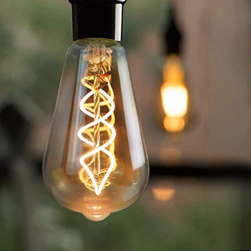 Bombilla Edison E27 LED 4W Lámpara incandescente vintage Edison Lámparas antiguas decorativas ST64 Bombilla de filamento blanco cálido 2200K para iluminación retro, no regulable