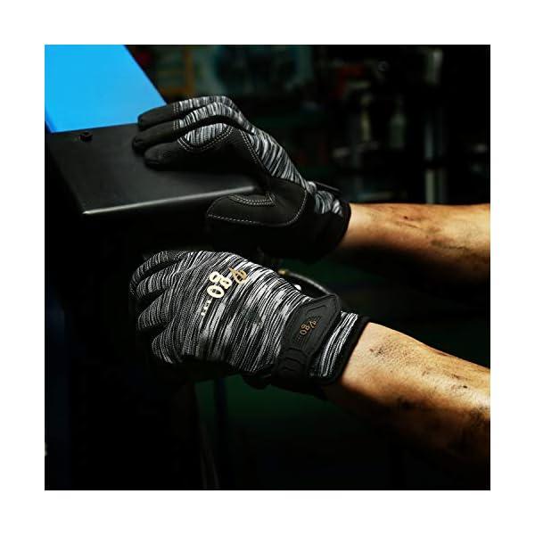 Vgo 3Pares Guantes de trabajo de Polyurethane Pantalla Táctil de Alta Destreza Multifunción (3 Colores,Talla 8/M, PU8718)