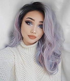 Synthetic Long Wave Ombre Wig Purple Grey Heat Resistant Middle Part Wig 130% High Density for Women Detazhi