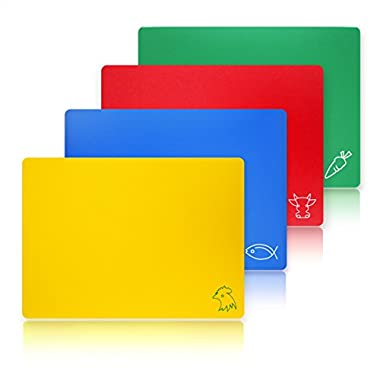 New Star Foodservice 28706 Flexible Cutting Board, 12-Inch by 15-Inch, Assorted Colors, Set of 4