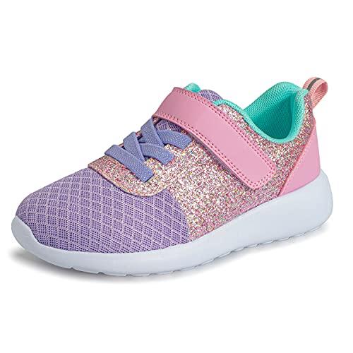 Mädchen Schuhe Kinder Turnschuhe Glitzer Sportschuhe Laufschuhe Hallenschuhe Sneakers Klettverschluss Tennisschuhe Festliche für Jugendliche,22 EU,Violett Pink