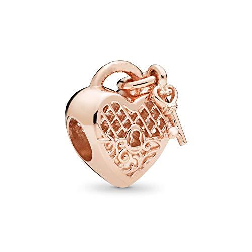 MiniJewelry Love Heart Charms for Bracelets Heart Lock Key Charm, Fuchsia Pink Heart Charm, Dream Heart Sterling Silver Charm for Women Girls Christmas Birthday Gift