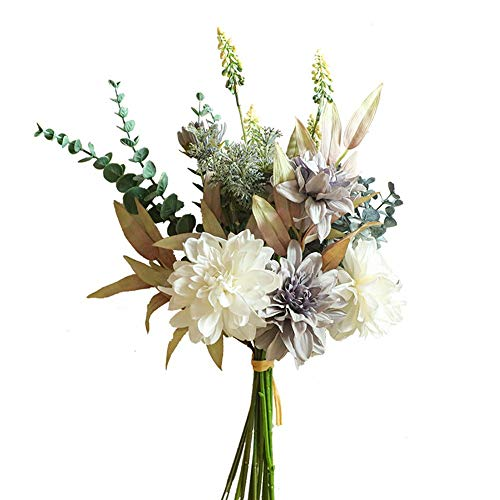 KIRIFLY Artificial Fake Flowers Plants Silk Flower Arrangements Wedding Bouquets Decorations Plastic Floral Table Centerpieces for Home Kitchen Garden Party Décor (Purple White)