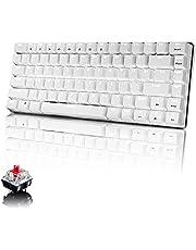 Mechanisch Gaming Toetsenbord, Witte LED Achtergrondverlichting, USB-Kabel Bedraad, 82 Toetsen Anti-Ghosting Compact Ergonomisch PC Toetsenbord, Snel Reagerend, Rode Schakelaar, Witte