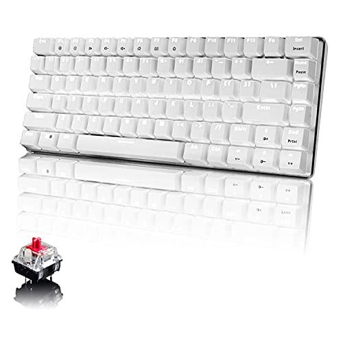 Tastiera Meccanica da Computer Gaming, USB Cablata 82 Tasti Anti-Ghosting Tastiera Gioco Bianco Illuminata Backlit, Mechanical Keyboard Compatta Ergonomica, Interruttore Rosso, Bianco