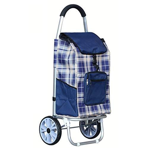 BOC Transporte de remolque de gran capacidad de peso ligero ruedas de la carretilla empuje bolsa de la compra con 2 Ruedas,Azul