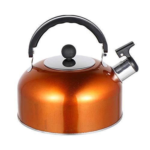 Cabilock 2.5L Pfeifender Wasserkessel Pfeifkessel Edelstahl Wasserkocher Pfeifenkessel Induktion Teekanne Teekessel Flötenkessel mit Hitzebeständigem Griff für Gas Herd Gasherd (Orange)