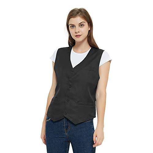 TopTie Unisex Button Weste Arbeitskleidung Uniform Weste-Schwarz-M