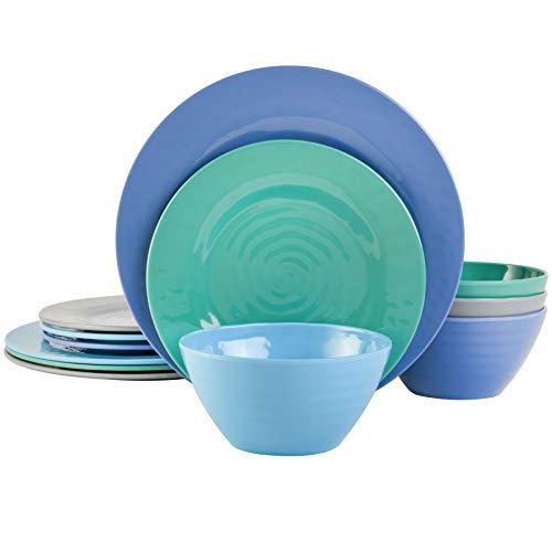 Gibson Home Brist Melamine Dinnerware Set, Service for Four (12pcs), Blue
