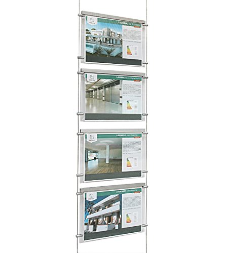 Espositore a cavetti luminoso monofacciale da vetrina, EVO LED KIT 1x4, con 4 cartelle in plexiglass formato A4 orizzontale, porta annunci per agenzie immobiliari, studi fotografici, ecc.