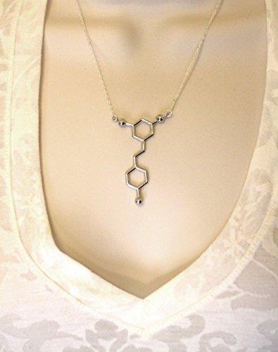 Rotwein-Resveratrol-Halskette, Molekül-Halskette, Silberschmuck für Frauen, Chemie-Halskette