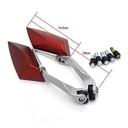 MOONIIGHT XDH 1 par 8mm 10 mm Accesorios de Motocicleta Motocicleta Retrovisor Espejo Universal Scooter Motorbike Lado Retrovisor Retrovisor (Color : Red)