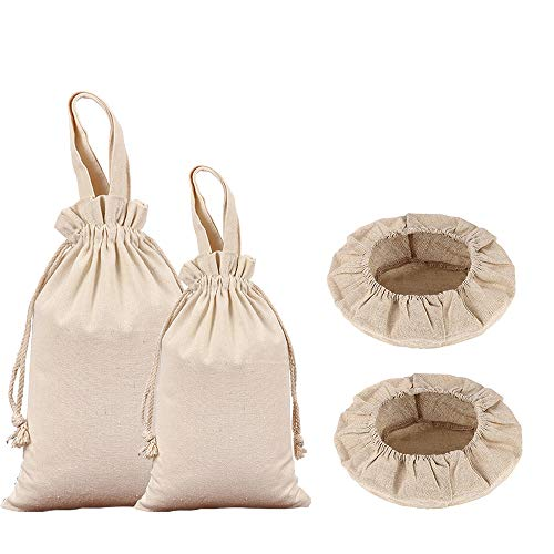 4 Pieces Bread Proofing Basket Cloth Liner and Cotton Produce Bags, Round 10' Banneton Baking Dough Basket Cover Storage Drawstring Fabric Sack for Flour Laundry Grocery Vegetable