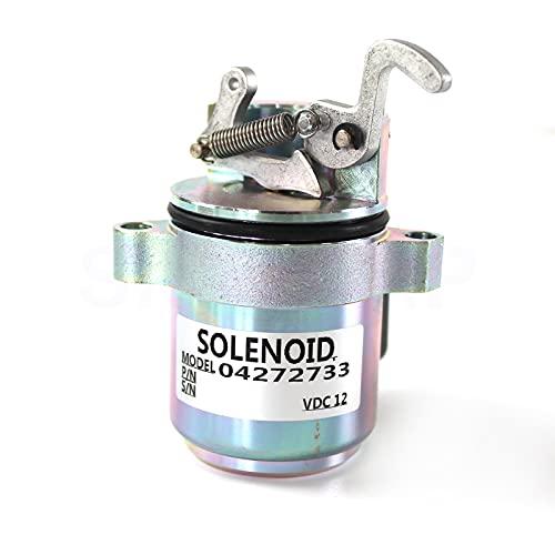 04272733 04170534R M7272733 Solénoïde 12V - SINOCMP Solénoïde d'arrêt de carburant pour DEUTZ BF4M1011F Bobcat Skid Steer Loader 863/873, garantie de 3 mois