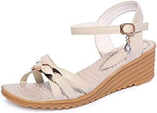 Sandals with rhinestones For women summer wedges with high heels for women Open toe sandals women's casual shoes light weight white beige color off white SANDAL01