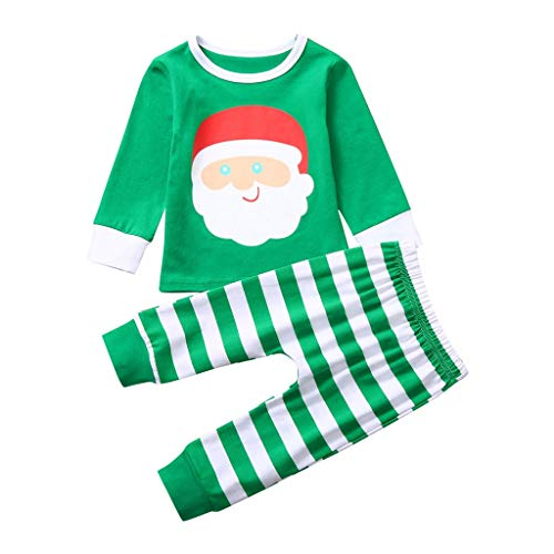 Mamum Toddler Girls Boys Noël Bébés Garçons Filles Dessin Animé Animal Rayé Tops Imprimés + Pantalons Mis Tenues