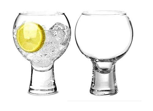 Wrenbury Gin-Gläser, Geschenk-Set, 2 Stück, ikonisches 397 ml, spanisches Copa-Ballon, Cocktail, Rotweinglas, massiver Boden, stapelbares Design, kurzer Stiel, Gin-Glas