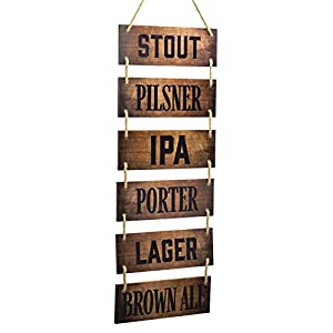 Excello Global Products Large Hanging Wall Sign: Rustic Wooden Decor (Stout, Pilsner, IPA, Porter, Lager, Brown Ale…