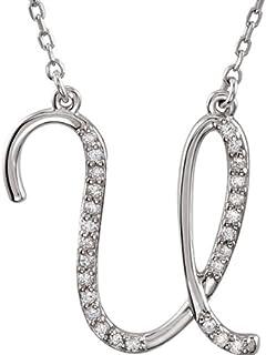 Collar pendiente inicial cursivo personalizado de Cursive Sterling Silver, colgante inicial del collar, collar personalizado, encanto de la letra