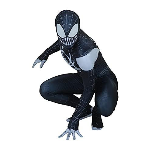 HAOWUTX Spiderman Spiderman Venom Black Spiderman Jumpsuit Adultos y niños Lycra Spandex Impresión 3D Halloween Carnival Superheroot Body (Color : Venom Black Spiderman, Talla : 155-160 cm)