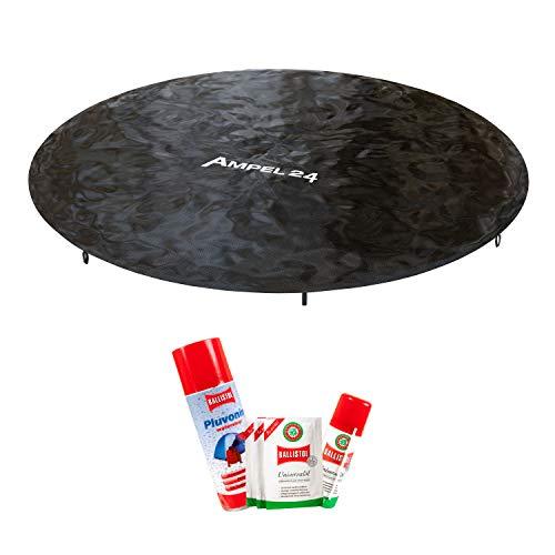 Ampel 24, Housse de Protection pour Trampoline au diamètre de 244cm + Soin d'entretien pour l'hiver | Protection avec écoulement d'eau Central | Spray imperméabilisant et Huile