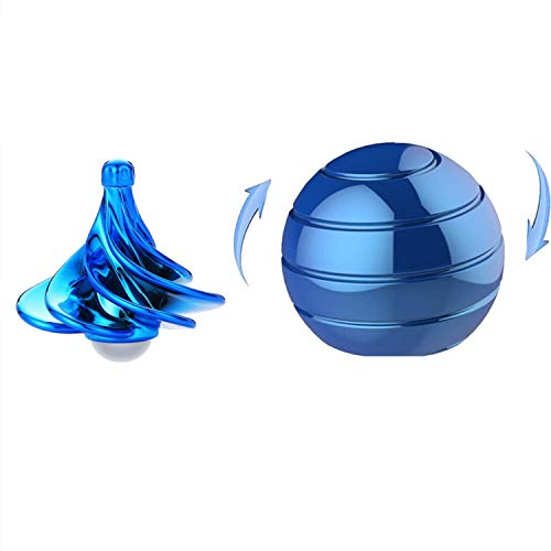 KXT Kinetic Desk Toys, Full Body Illusion Rotating Ball, Kinetic Optical Illusion Balls, Airflow Spinning Gyro,Fidget Toys for Adults Stress Relief, Men's Gifts, Ladies, Children (Sapphire Blue)