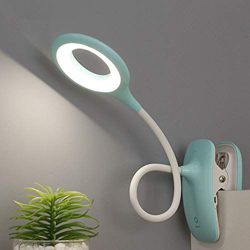 QZZZ Leselampe Bett Klemme Aufladbar, Klemmleuchte LED Dimmbar, 3 Stufen Farbtemperatur, 360 ° Flexibler Schwanenhals Clip Tischlampe für Nachtlesen, Büro, Buch, Bett,Grün
