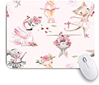 Mabby マウスマット ゲーミング オフィス マウス パッド,tileable pattern with watercolor ballerinas animals,Non-Slip Rubber Base Mousepad for Laptop Computer PC Office,Cute Design Desk Accessories