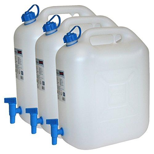 Hergestellt für BAUPROFI 3X Wasserkanister ECO 20 Liter mit Hahn 3er Set Camping-Kanister Wassertank NEU