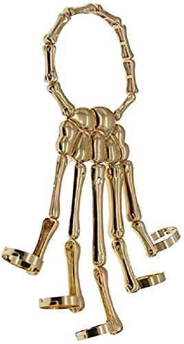 Fashionable Skeleton Punk Hand Bone Bracelet Bangle Ring for Nightclub Halloween Costume Accessories, Skeleton Skull Hand Bracelet Ring Jewelry for Men Women (Gold)