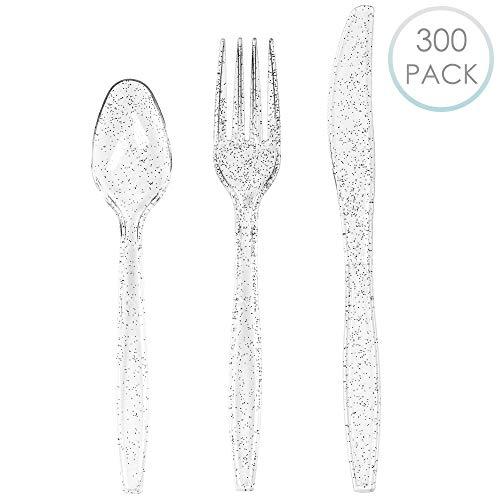 300 plastic bestekset, stevig wegwerpbestek, kunststof, zilveren glitter, 100 lepel, 100 vorken, 100 messen, geschikt voor feestjes, bruiloften, verjaardagen, doopfeesten, niet giftig en BPA-vrij.