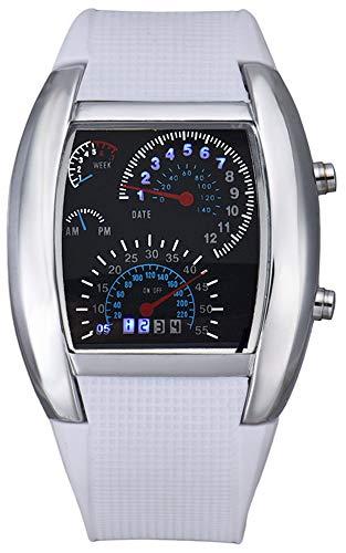 Fanmis Digital Fashion Cobra Men's LED Watch Silicone Iron Triangle Dial Sports Wristwatch (White)