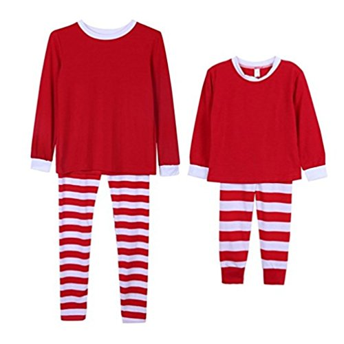 Q&Y Holiday Stripe Matching Family Christmas Pajamas Set Parent-Child Homewear Outfits Red/White Kids 8T
