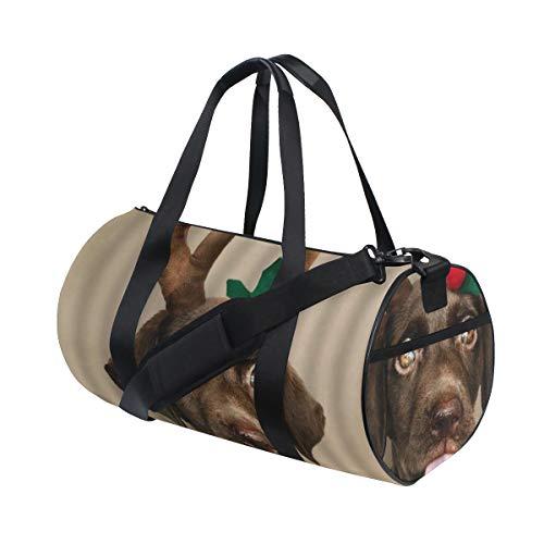 HARXISE Lindo Perro Feliz Navidad Cachorro Astas Reno Divertido Mascota Hippie,Bolsa de equipaje de viaje Deporte Lienzo ligero Equipaje de fitness Bolso de tambor Desmontable