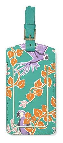 Kate Spade New York Vegan Leather Luggage Tag for Women, Green Durable Suitcase ID Tag, Bird Party
