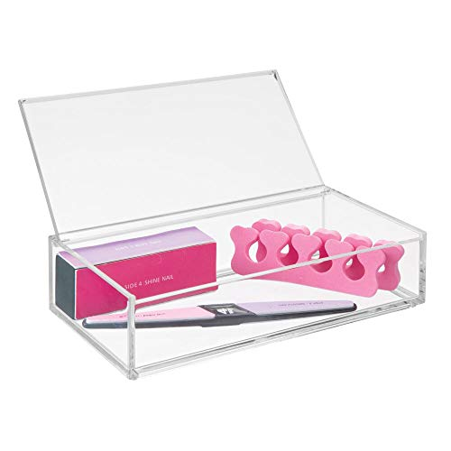 mDesign Kosmetik Organizer – große Kosmetik Aufbewahrungsbox mit Deckel – die perfekte Schminkaufbewahrung für Nagellack, Puder etc. – transparent