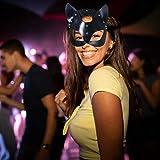 Uyuke Máscara de Cuero Sexy para Gato Máscara de Cabeza de Gato para Mujer Máscara de Fiesta de Carnaval de Halloween Catwoman Cosplay Máscara Facial