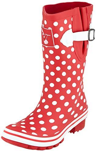Evercreatures Polka Dot Short, Damen Gummistiefel, Rot (Red/White Polka Dots), 36 EU